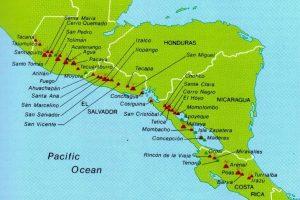 Mapa de volcanes de América Central